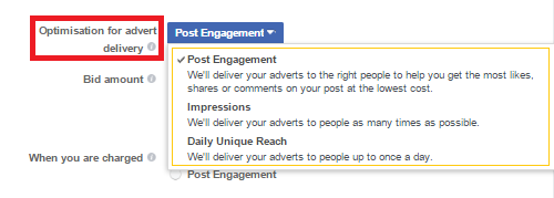 Post engagement ad objective