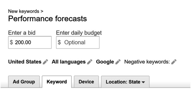 bidding for keywords in google adwords