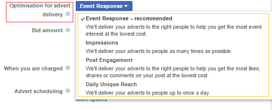 event responses ad objective