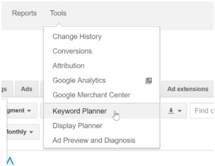 selecting google keyword planner