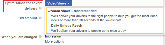 video views ad objective