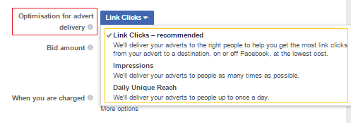 website clicks ad objective